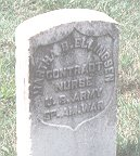 Photograph by Linda Strodtman of gravestone of a US Army Contract nurse buried at Arlington National Cemetery.
