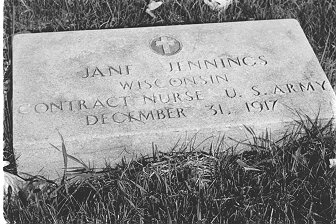 Photo of grave of Jane/t Jennings in Monroe, WS courtesy of Signe Cooper