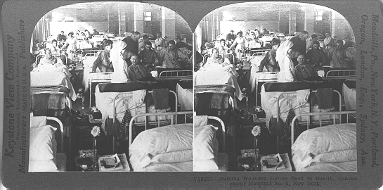 Stereoscopic photo of a military convalesent hospital